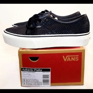 VANS Leather Platform 2.0, Black Snake, Size 9.5